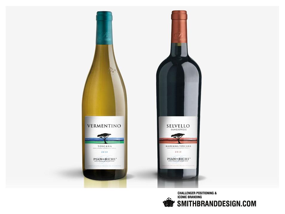 SmithBrandDesign.com Pian del Bichi Bottles